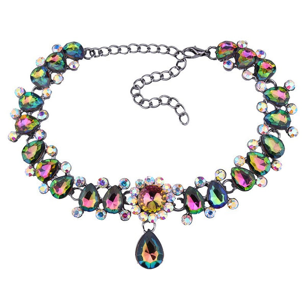 Vintage Drop Crystal CZ & Pendants Charm Choker Necklace