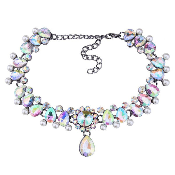 Vintage Drop Crystal CZ & Pendants Charm W/Faux Pearls Choker Necklace