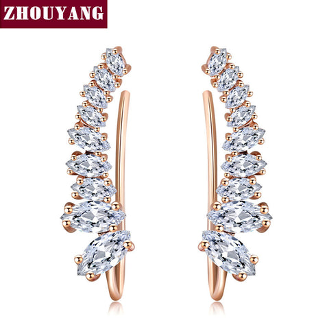 Four-Prong Setting 9 CZ  Rose Gold Plated Ear Hook Stud Earrings