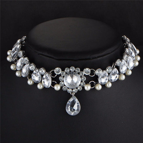 Water Drop Crystal CZ And Vintage Simulated Pearl Statement Bead Choker Necklace