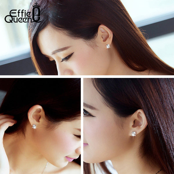 CZ Crystal Platinum Plated Dolphin Stud Earrings