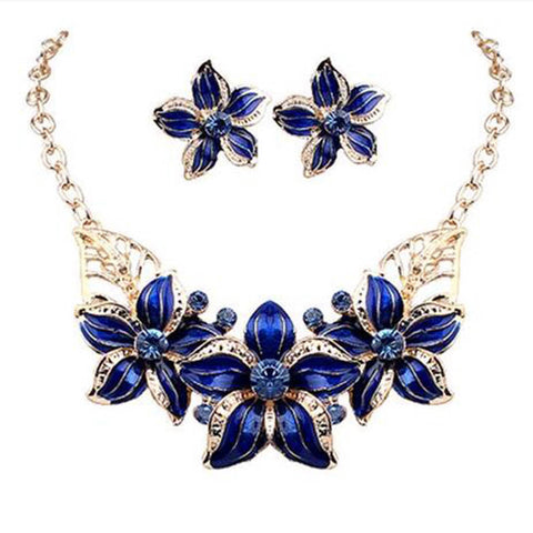 Necklace Earrings Blue Party Oil Drop Flower choker Romantic Beautiful Jewelry Set