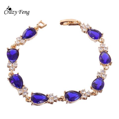 Luxury Gold Plated Waterdrop Shaped Blue Crystal CZ Bracelet