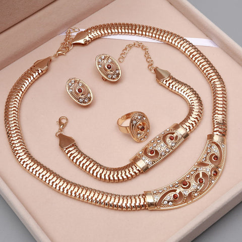 African Wedding Style Crystal Gold Plated Necklace Bracelet Earrings Ring Jewelry Set