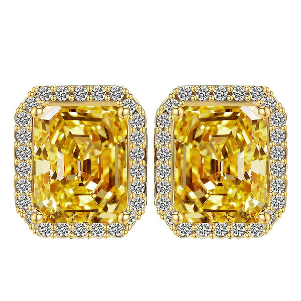 Big Square Citrine Crystal Gold Plated CZ Earrings