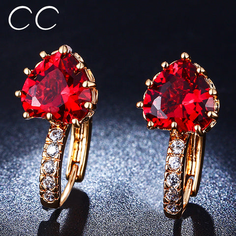 CZ Rose Gold Plated Red Crystal Heart Stud Earrings