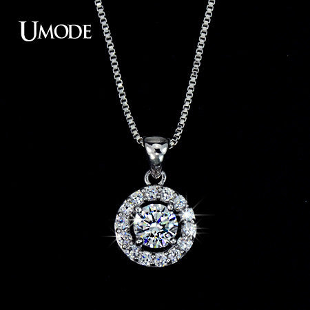 Rhodium plated AAA CZ Long Pendant Necklace