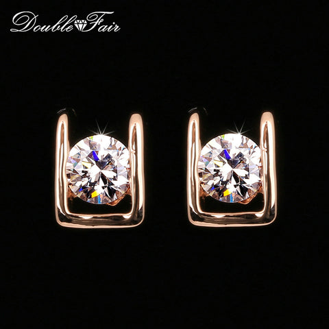 CZ Rose Gold Plated Classic Stud Earrings