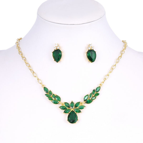 Gold Plated Green Crystal CZ Necklace & Stud Earrings Jewelry Set