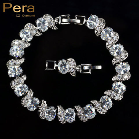 Luxury 925 Sterling Silver White Crystal CZ W/Chain & Link Bracelet