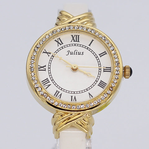 Fashion Japanese Quartz CZ Diamonds White Leather Band Dress Watch