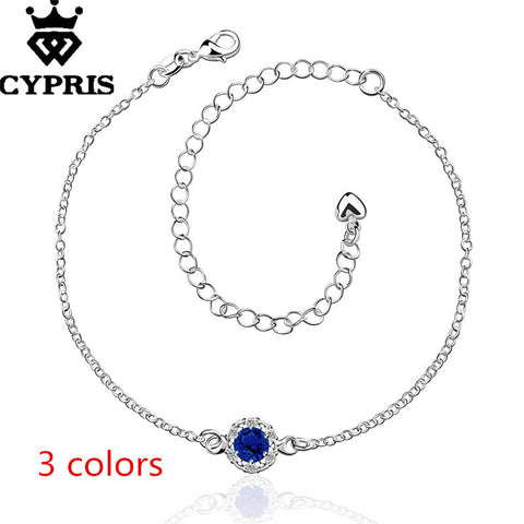 Sexy Silver Plated Blue CZ Rhinestone Anklet Ankle Bracelet