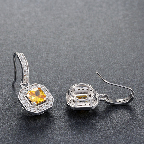 Yellow Zircon with Micro Paved Clear CZ Dangle Earrings