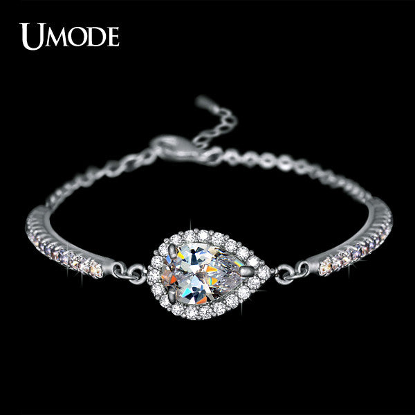 Austrian Rhinestones Cup Chain and Micro CZ Pave 2 Carat Pear Cut CZ Bracelet Rhodium Plated