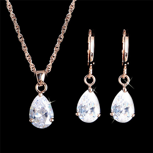 Gold filled White Oval Cut Crystal CZ Charming Necklace Pendant & Drop Earrings Jewelry Set