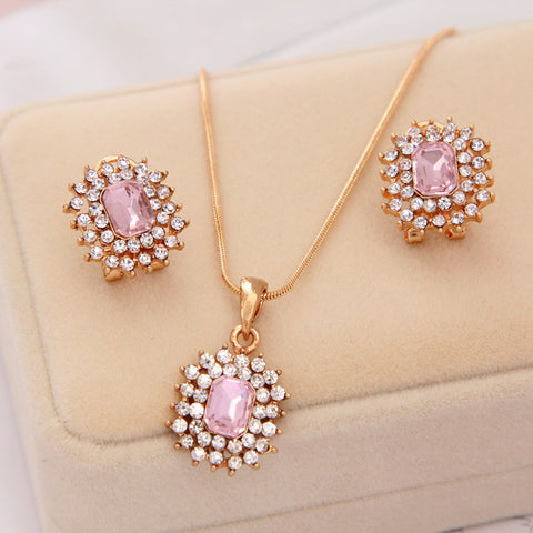 CZ Pink Gem Pendant Necklace/ Earrings Jewelry Set