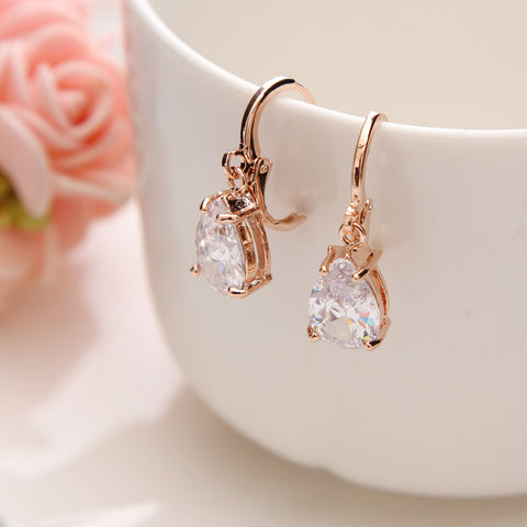 CZ Water Drop Gold Plated Stainless Steel Earrings