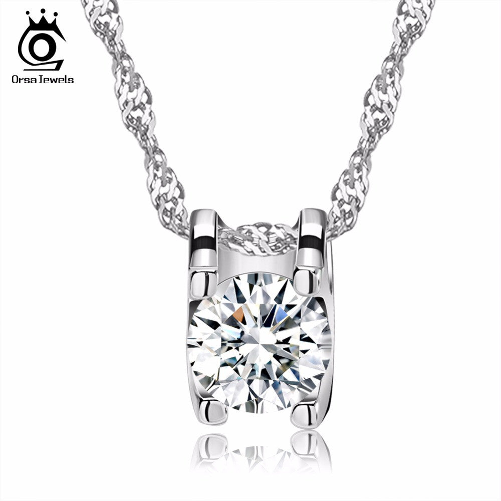 Elegant Square Pendant with Brilliant Heart and Arrow Cut Clear CZ Necklace