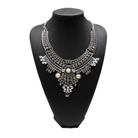 Bridal Simulated Pearl Bib Evening Dress Collar Necklace