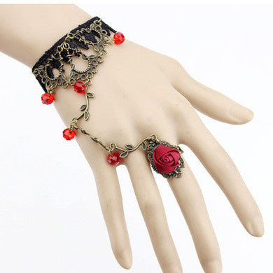 Gothic Style Black Lace Handmade Bridal Red Rose Flower Hand Chain