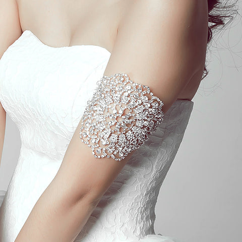 Clear Crystal Flower Bridal Arm Chain Jewelry Wedding Arm Bracelet