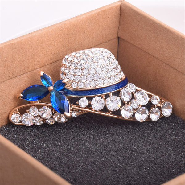 Simple Atmosphere Hat Shaped Rhinestone Brooch Pin
