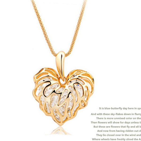 Vintage Sparkling Golden Hollow Cubic Zirconia Love Leaf Chain Necklace