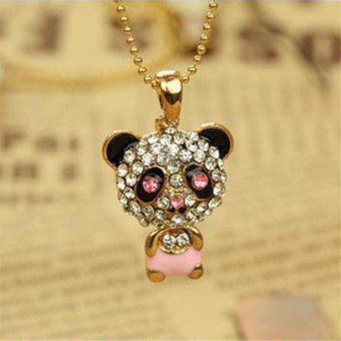 Exquisite Crystal Rhinestone Cute Panda Chain Pendant Necklace