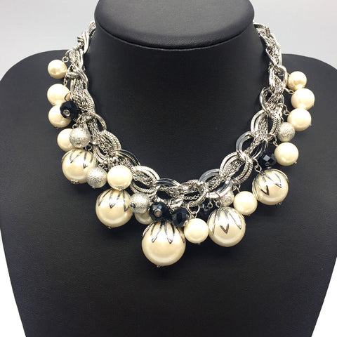 Big Faux Pearl Statement Collar Necklace