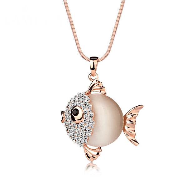 Cute Rhinestone Fish Shape Pendant Long Chain Necklace