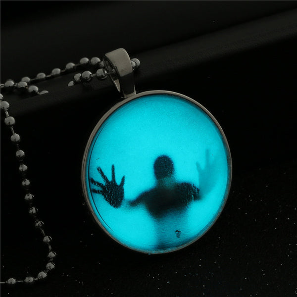 Cabochon Glow in the Dark Steampunk Style Pendant Fashion Necklace