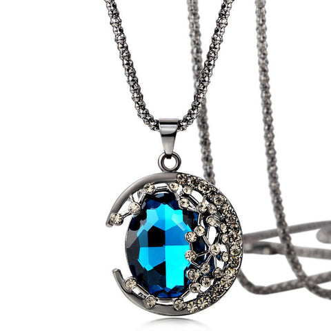 Crystal Rhinestone Retro Curved Blue Moonlight Necklace