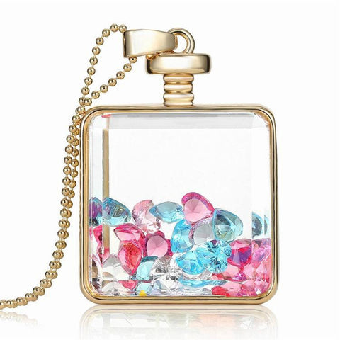 Glass Box Bottle With Colorful Crystal Stones Necklace