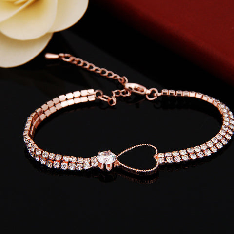 Crystal Rhinestone Heart Shape Charm Bangle Bracelet