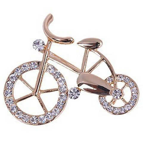 Gold-plated Crystal Rhinestone Bike Brooch Pin