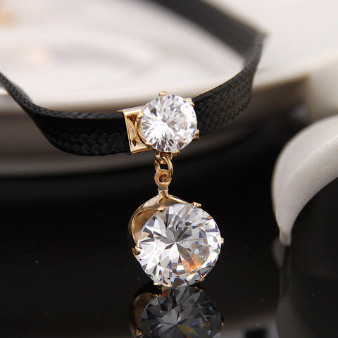 European and American Style Round Crystal CZ Choker Necklace