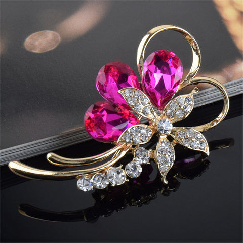 Cute Bouquet Red Flower Crystal Rhinestone Bride Brooch Pin