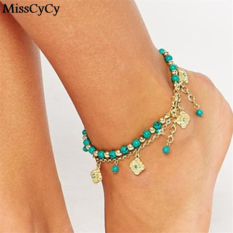 Lucky Kabbalah Fatima Hamsa Hand Blue Flowers Double Beads Turkish Anklet Ankle Bracelet