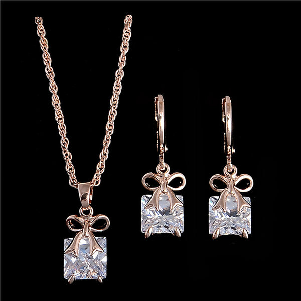 Gold Plated shiny pretty bow CZ Chain Necklace + Earrings Jewelry Set