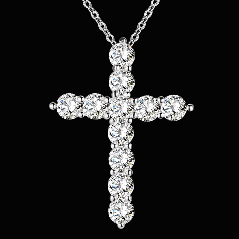Silver Plated Cross Crystal CZ Pendant Necklace