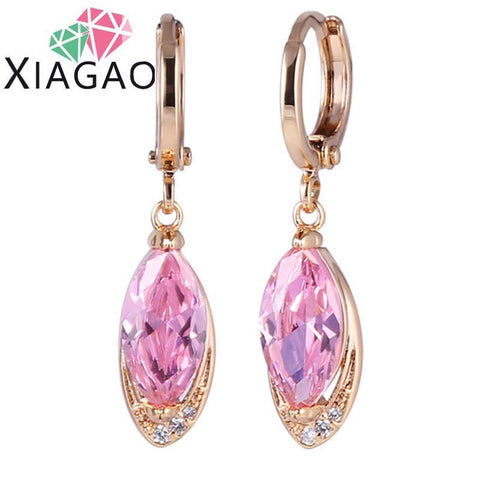 Long Oval Pink CZ Drop Dangle Gold Plated Piercing Earring