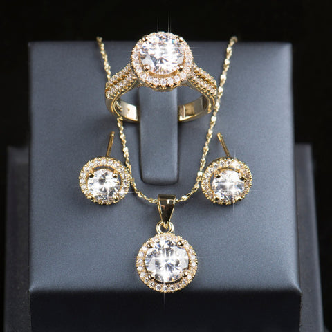 925 Sterling Silver Gold Plated AAAAA CZ Stud Earrings Ring Necklace Bridal Jewelry Set