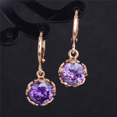 Gold Plated Purple Crystal CZ Stone Dangle Earrings