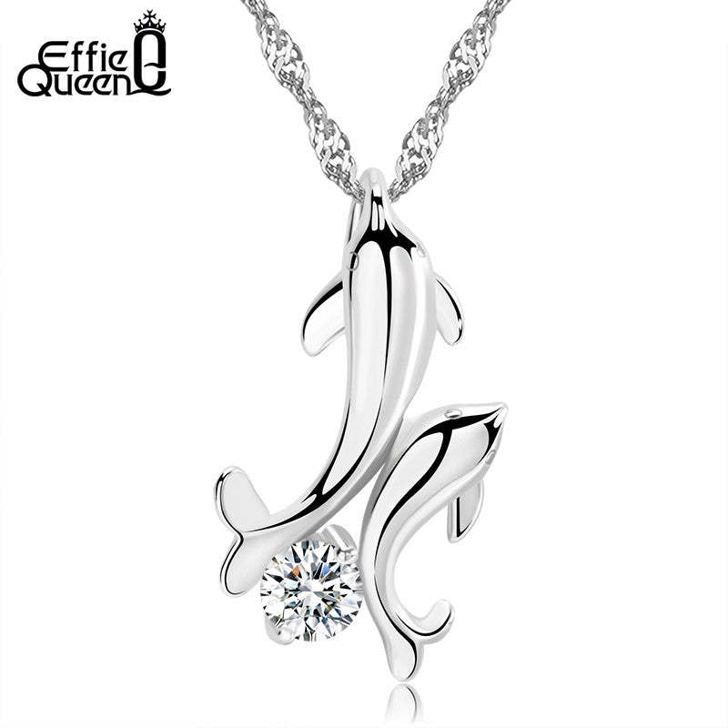 CZ Crystal Platinum Plated Dolphin Necklace