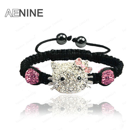 Cute Hello Kitty Austrian Crystal Micro Pave CZ Disco Ball Bead Bracelet