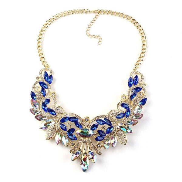 Vintage Turkish Blue Crystal Statement Collar Necklace