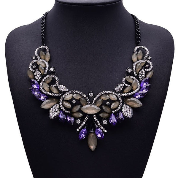 Vintage Turkish Purple Crystal Statement Collar Necklace