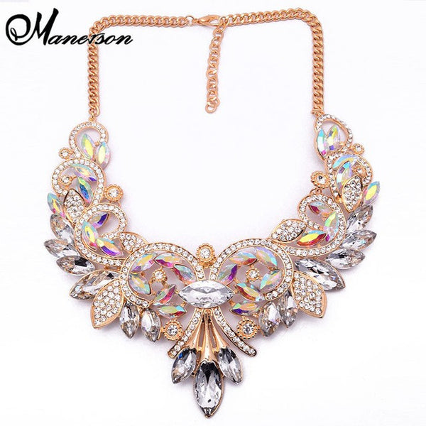 Vintage Turkish AB Crystal Statement Collar Necklace