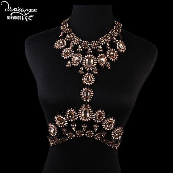 Body Chain Summer Beach Sexy Gold Plated Long Crystal Rhinestone Pendant Necklace