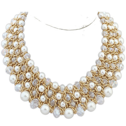 Vintage White Faux Pearl Statement Pendant Collar Necklace